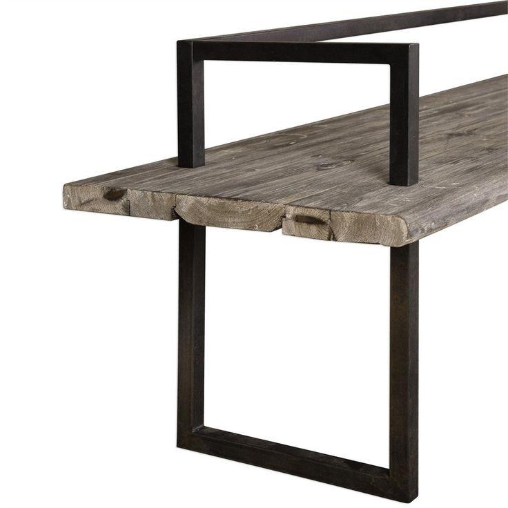 Long Industrial Entry Bench – Antique Finish | Scenario Home
