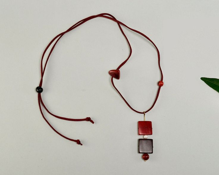Tagua red necklace, red pendant necklace, adjustable necklace, geometric necklace, carved vegetable ivory,gift for her, garnet cord necklace by ColorLatinoJewelry on Etsy
