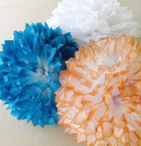 Turquoise, Coral & White Pom Arrangement / Wedding Decorations / Coral Baby Nursery / Coral, Turquoise Decorations