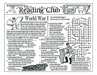 FREEBIE WORLD WAR I Set - How the War Began and Why the U.S. Got Involved; Includes: brief history 2-page activity set; word search puzzle; bonus map of Europe before WWI and a modern day map to show contrast.