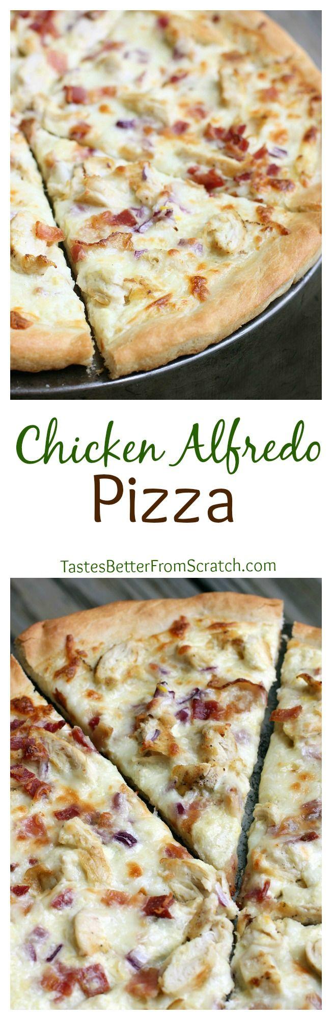 Chicken Alfredo Pizza on MyRecipeMagic.com