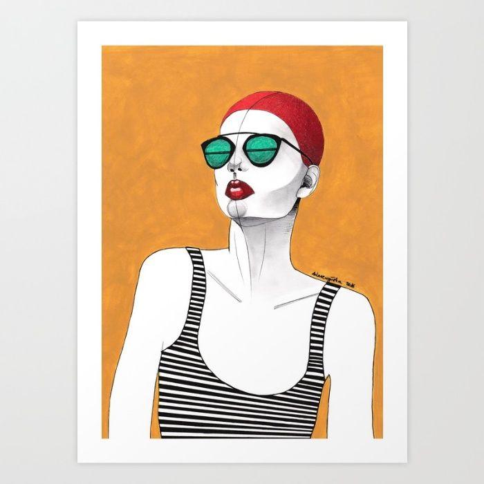 Stripe Swimmer Art Print by Agata Wereszczyńska | Society6