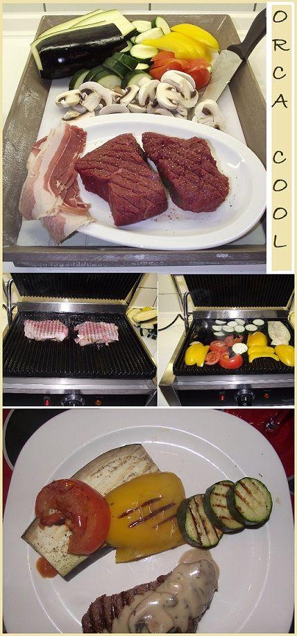 Biefstuk,Spek,Courgette,Paprika, Aubergine,Tomaat,Champignons,Kruiden  Omwikkel het biefstuk met spek (pas op met zout omdat het spek al vrij zout is) Grill de steak in max. 5 minuten gaar. Leg het vlees op een bord en dek af met aluminiumfolie. Grill de groenten. Dat ging snel niet! Kijk voor het assortiment Contact-grills op