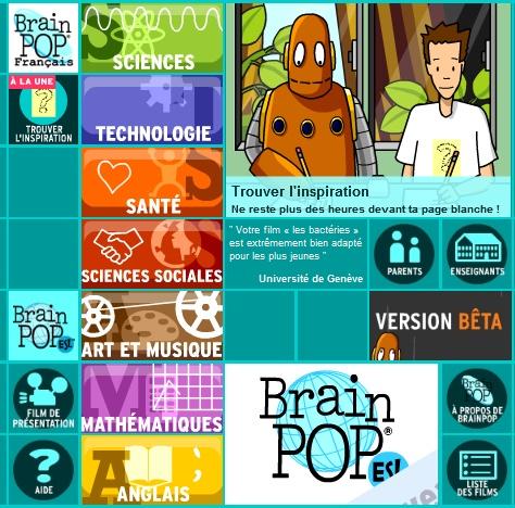 Des centaines de films d'animation courts créés par Brain Pop destinés au public scolaire et conformes au programmes de l'éducation nationale. Les films de 3 à 6 minutes sont répartis en 7 catégories : sciences, technologies, sciences sociales, santé, art  musique, mathématiques, anglais. Une page dédiée aux enseignants et une pour les parents