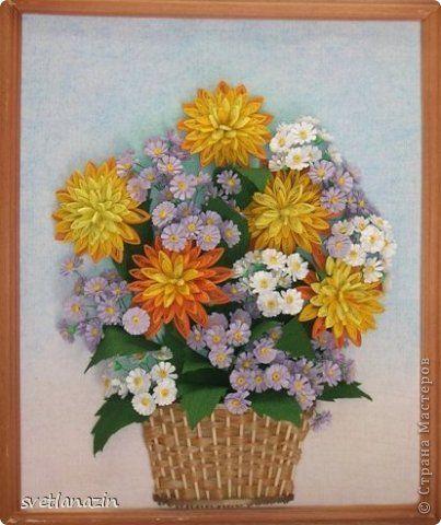 Картина панно рисунок Квиллинг Солнечный букет Бумажные полосы Проволока фото 1