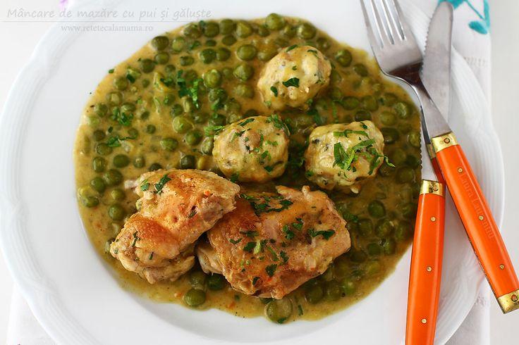 Mâncare de mazăre cu pui și găluște, rețetă pas cu pas. Cum se face o mâncare de mazăre verde cu pui. Mazăre boabe cu carne de pui și smântână,...