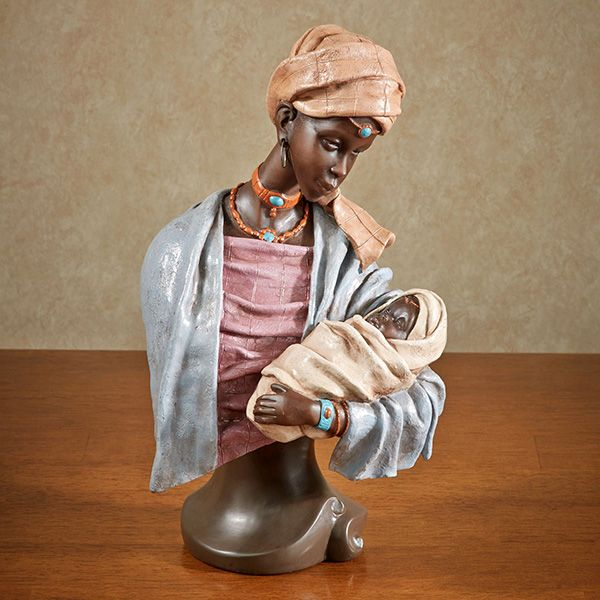 Consoling African Mother With Baby Sculpture Sculpture African Mother