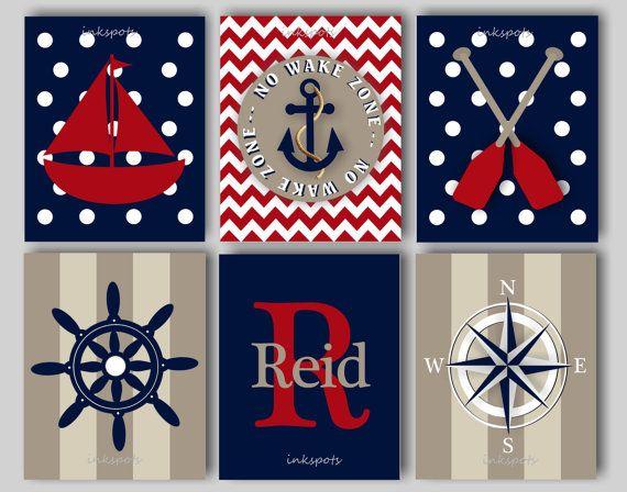Baby Boy Nursery Art Nautical Nursery Print for Boys Room Nautical Decor Sailboat Print Anchor Print No Wake Zone - Choose Colors