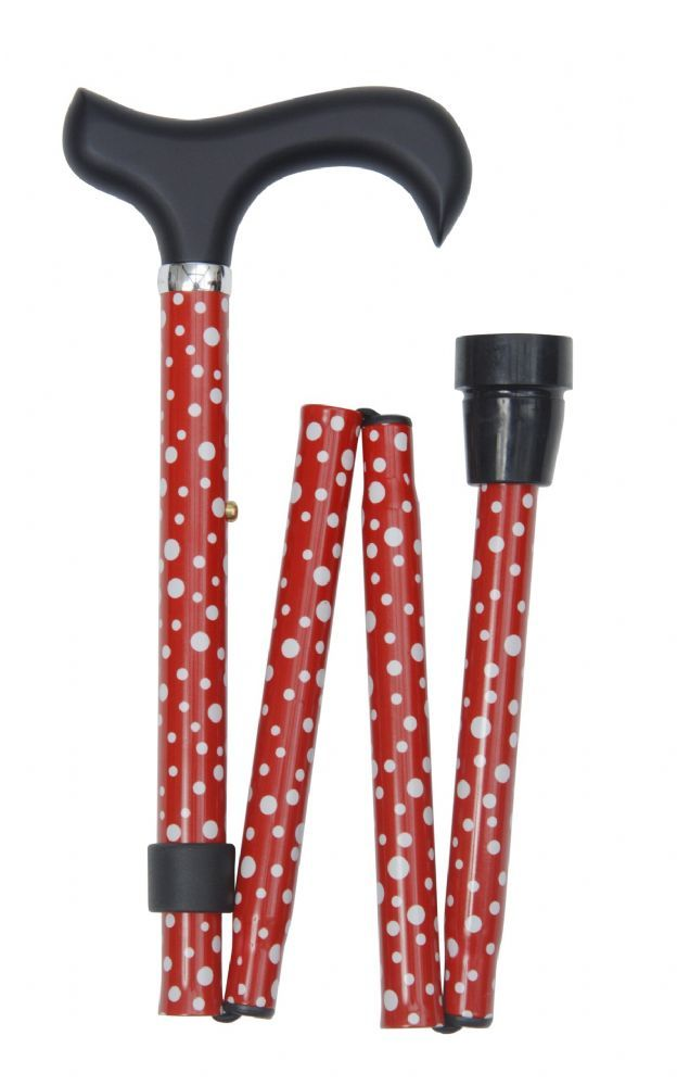 A sassy fashionable folding cane that is ideal for the young and the young-at-heart The elegant derby handle offers excellent support to the hand The