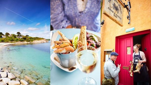 Falmouth    Cornwall's new gastronomic hub features Caribbean-blue waters (left);prawns and white wine (centre); and plenty of fresh fish (right). (Matt Munro)
