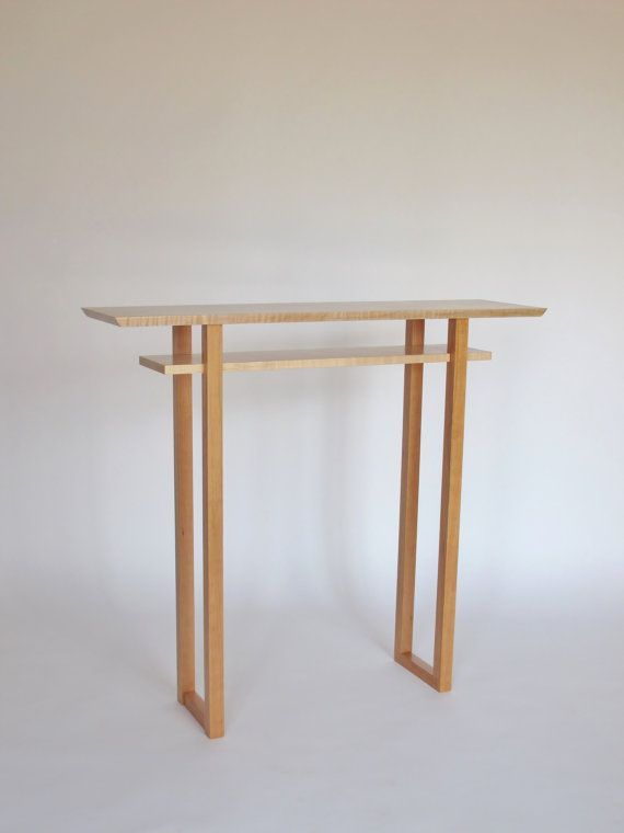 Captivating Tall Narrow Wood Foyer Table: Narrow Hall Table, Tall Side Table, Modern  Console