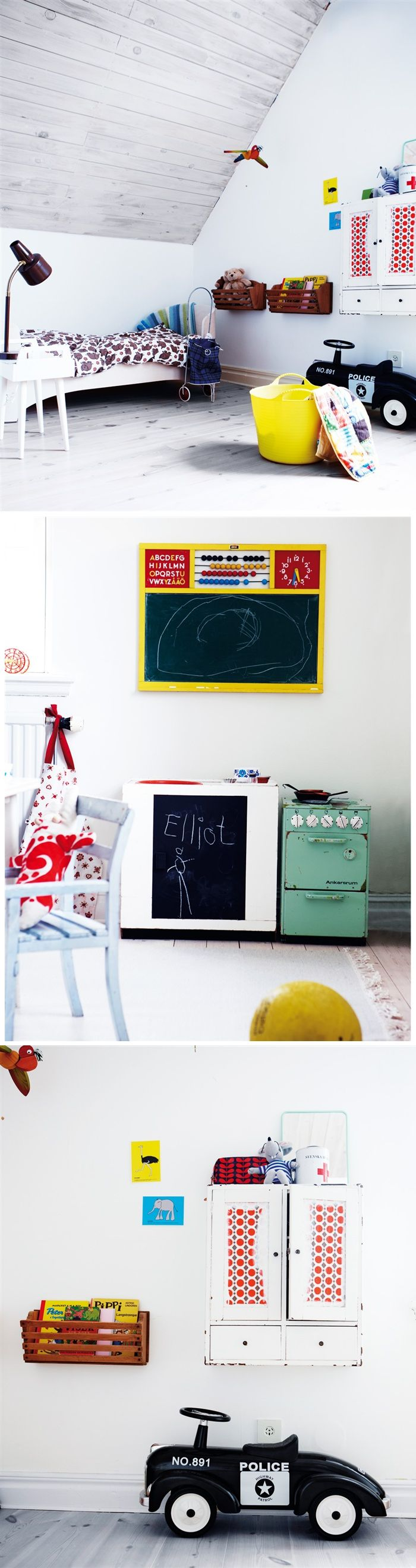 Kids Room with driftwood floors and a vintage feel