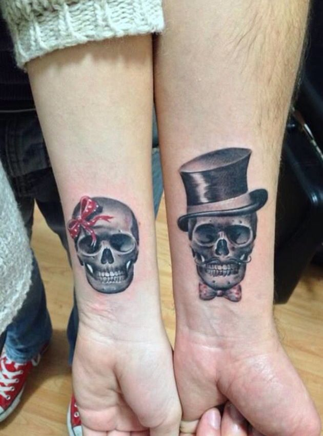 boy/girl skull tattoo