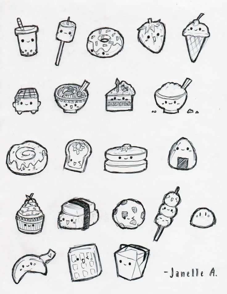 Cute food by janellelovesudon planner pinterest food for Small art drawings