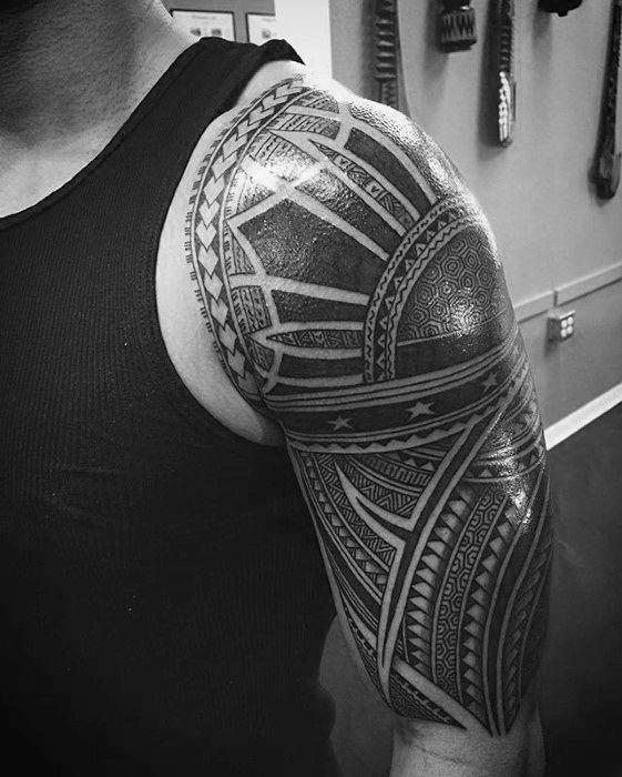 Heavily Shaded Half Sleeve Sun Filipino Tribal Male Tattoo Ideas