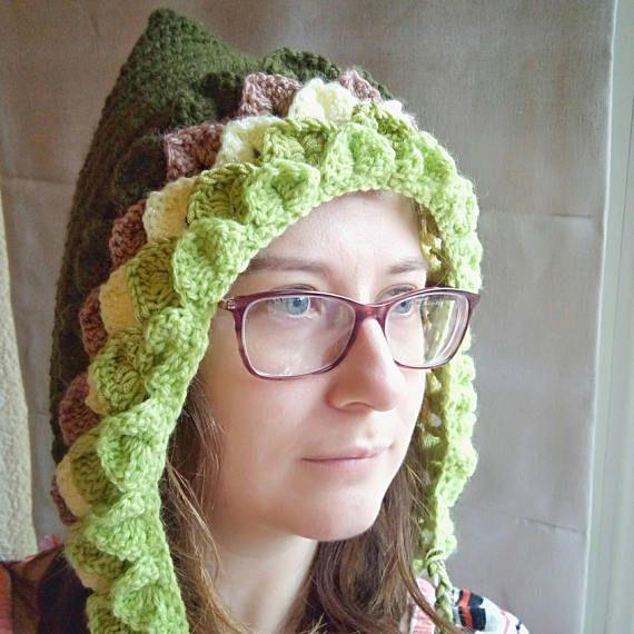 Ladies pixie bonnet  crochet pixie hat  dragonscale pixie