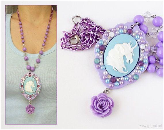 Unicorn Cameo Necklace Cameo Jewelry Cameo Pendant by gatumi