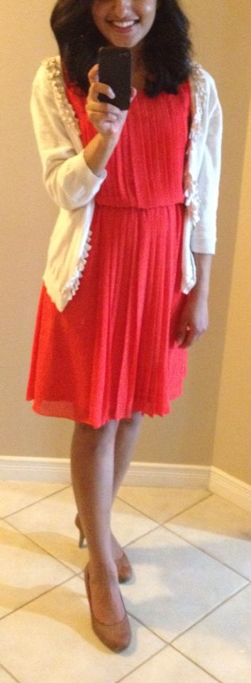 Red and White Bridal Shower. Dress - Jessica Simpson, Cardigan - Talbots, Shoes - Payless