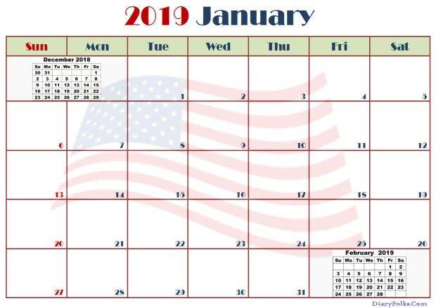 January Calendar 2019 US 250+ January 2019 Calendar Calendar