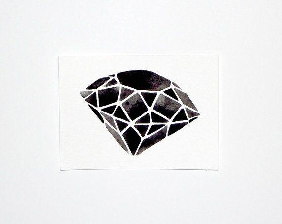 Original Watercolor  Geometric Diamond III  5 x 7 by GeometricInk, $10.00