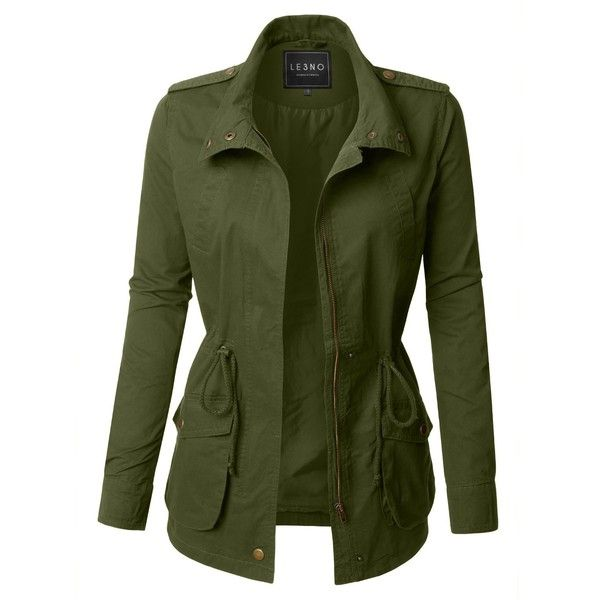 LE3NO Womens Lightweight Stand Collar Utility Safari Military Jacket... ($25) ❤ liked on Polyvore featuring outerwear, coats, lightweight coat, military jacket, green military jackets, lightweight field jacket and green coats