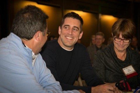 Aaron Rodgers At the Andy North Charity Night -- Green Bay Packers quarterback Aaron Rodgers and golfer Andy North are old friends. They got together in Madison to fuck cancer last weekend.