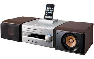 "JVC ""Micro Component System"" 『EX-S1S』 A stylish CD Component System featuring Direct Dock for iPod®/iPhone®, front USB, and high-quality sound with JVC-exclusive Wood Cone speakers"