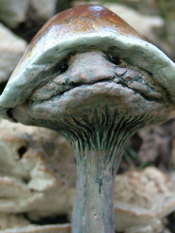 MushroomMinions  4 piece set  Mushroom garden by OldTrollBridge, $70.00