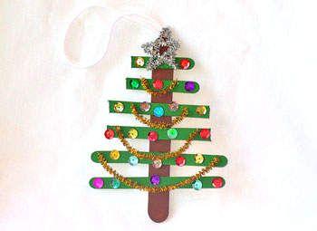 Homemade Christmas Ornament-Christmas Tree: Idea, Christmas Crafts, For Kids, Homemade Crafts, Preschool Crafts, Christmas Ornaments, Ornaments Crafts, Christmas Trees, Crafts Sticks