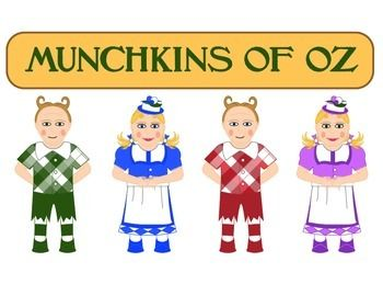 Looking for those little munchkins to complete your wizard of oz theme here they are. Two boys and two girls and 4 different colors. Great for anywhere in a classroom.