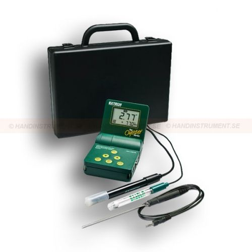 """http://termometer.dk/labinstrument-r12931/ph-ledningsevne-tds-orp-salinity-meter-53-341350A-P-r12937  pH / ledningsevne / TDS / ORP / Salinity Meter  Stort indbygget justerbar LCD   Mikroprocessor med splash-proof huse og frontpanel taktile pegeplade til hældning og kalibrere  Robust design til håndholdte eller stationære brug, rem for """"håndfri"""" betjening  Memory lagrer og minder 25 mærkede aflæsninger  Indbygget automatisk temperatur kompensation for ledningsevne / TDS via termistor..."""