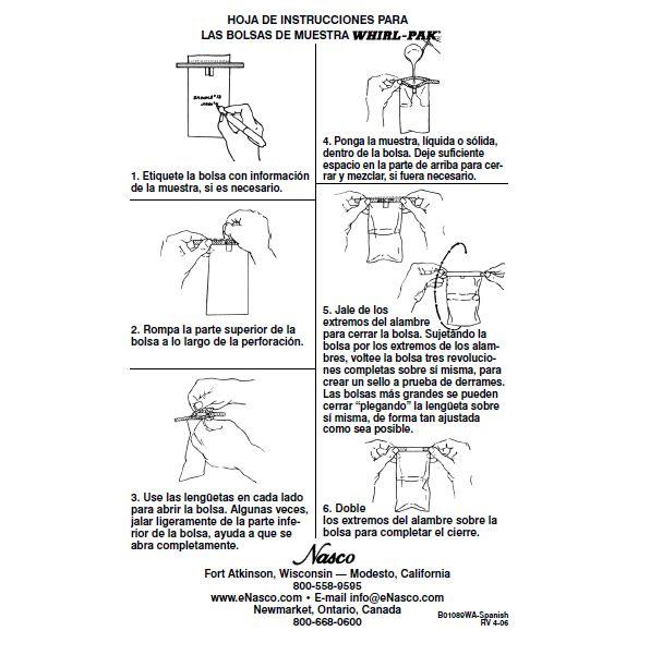 Hoja de instrucciones para las bolsas Whirl-Pak Nasco, #catalogo de #productos #elcrisol #volumen 70 #pagina 87,88 #alimentos #agua #productos #lacteos #ambiental #farmaceutica #clinica #forense #nuclear #quimica #cosmetica #laboratorio