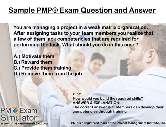 pmp sample questions Prepping for the pmp® take the free quiz and buy this course for real-life questions to help you pass the pmp® exam.