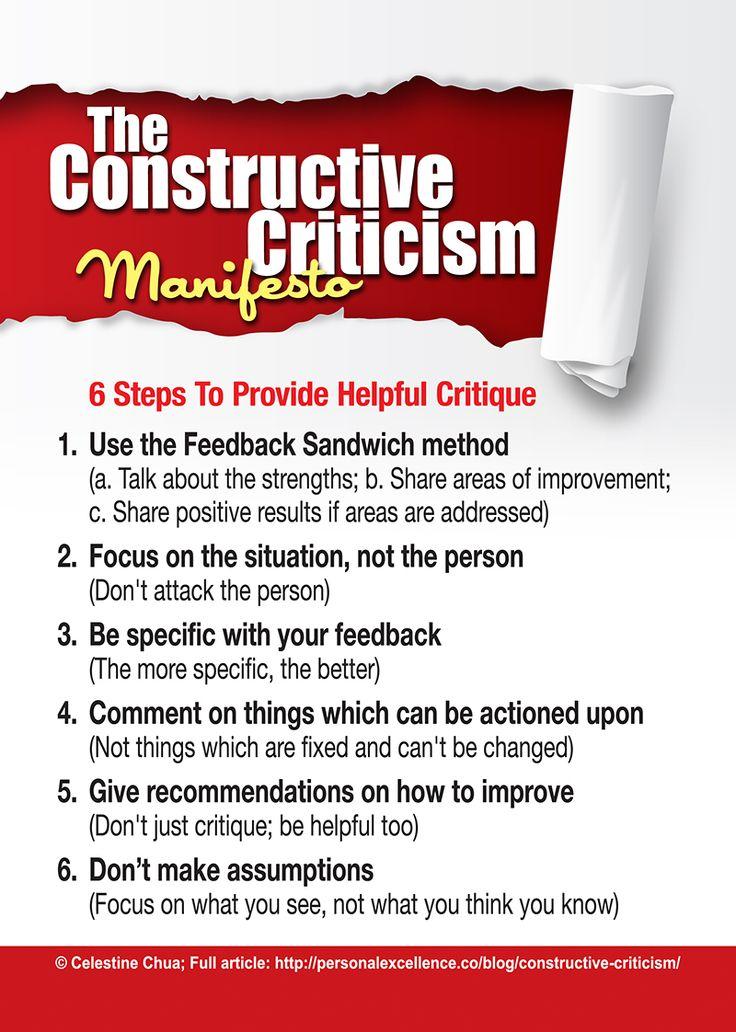 The Constructive Criticism Manifesto Criticism quotes