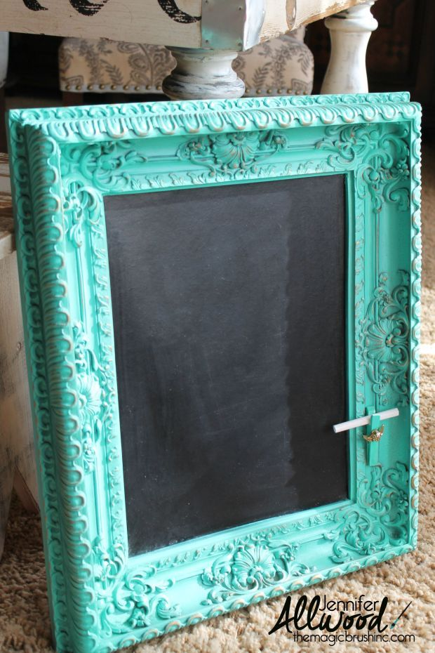 How to make a chalkboard from an old framed print turquoise after
