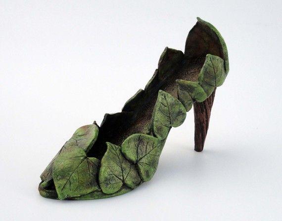 Ceramic Shoe Sculpture  Garden Goddess Shoe  Made to by Mudgoddess, $125.00