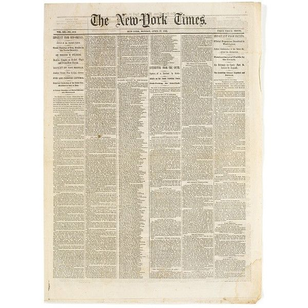 Original New York Times Civil War Newspapers, 1861-1865 ❤ liked on PolyvoreNew York Time