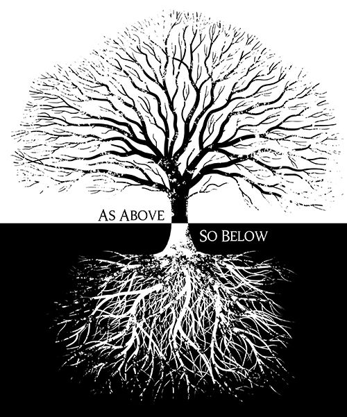 """As above, so below. Hermeticism is a philosophical tradition based on writings of Hermes Trismegistus (""""Thrice Great""""). He wrote that a single, true theology exists which is present in all religions. Many Christian writers, including Emerson, considered Hermes to be a wise pagan prophet who foresaw the coming of Christianity. He was named Thrice Great because it was believed he knew the three parts of the wisdom of the whole universe: alchemy, astrology, & theurgy."""