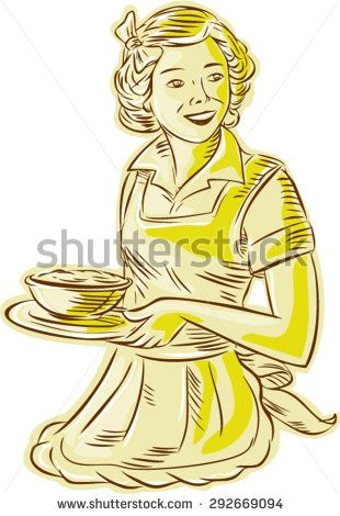 Etching engraving handmade style illustration of a vintage homemaker housewife wearing apron serving bowl of food viewed from front set on isolated white background.