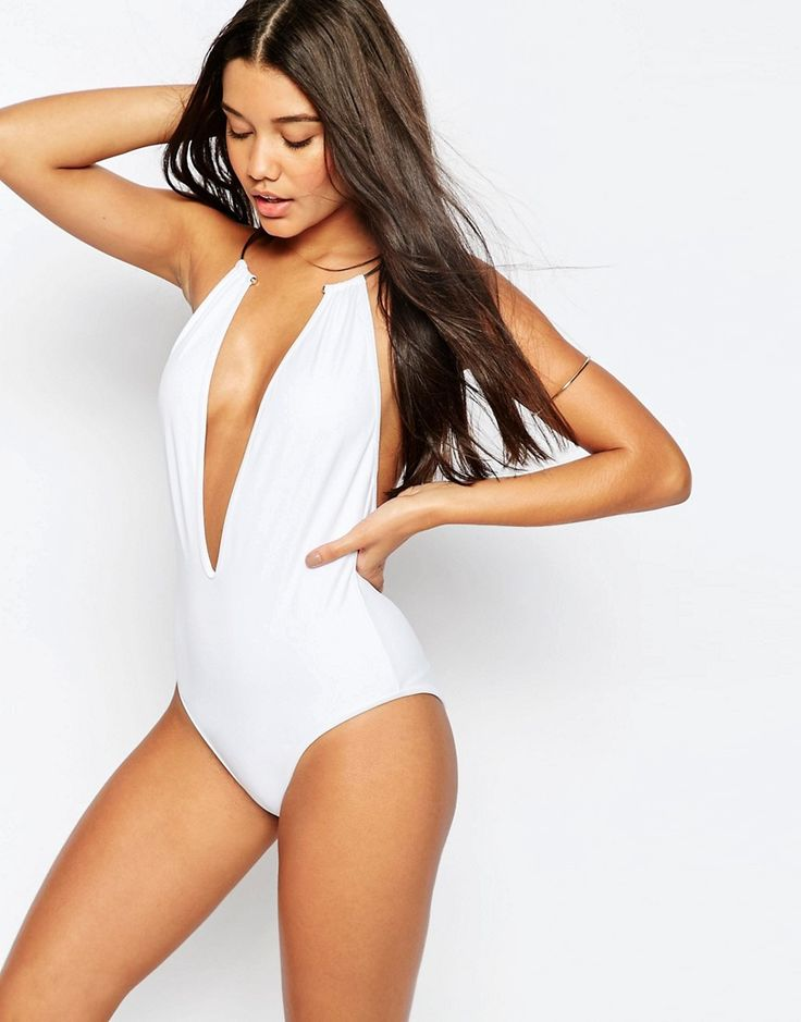 Image 1 of ASOS Gold Necklace Trim Plunge Swimsuit