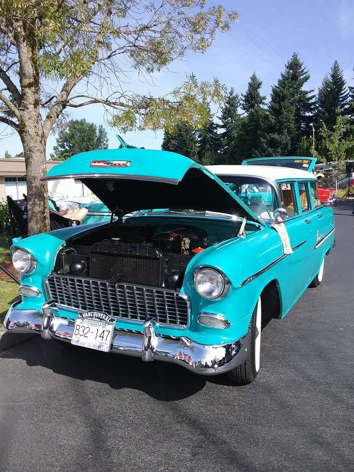 At the Tri 5 Chevy show in Issaquah Washington. August 20th 2017. 1955 Chevy Chevrolet Station wagon.