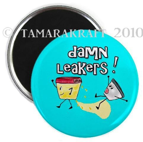 Leaking Pee Cup Magnet or Button -B14-. $3.00, via Etsy.
