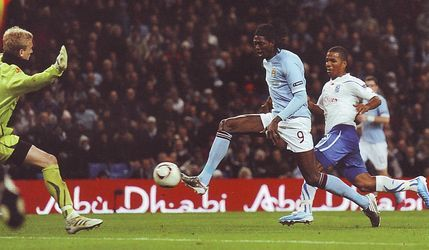 Man City 3 Lech Poznan 1 in Oct 2010 at Eastlands. On 73 minutes Emmanuel Adebayor completes his hat-trick in the Europa League, Group A clash.