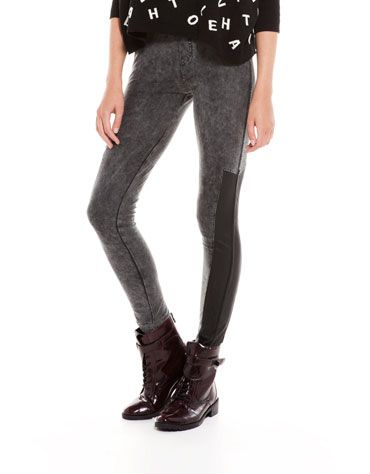 Bershka Czech Republic - BSK imitation leather detail trousers