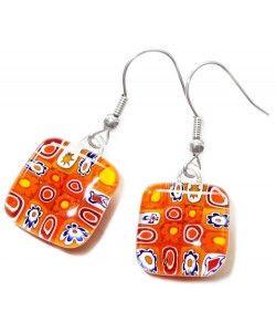 Handgemaakte oranje oorbellen van millefiori glas!