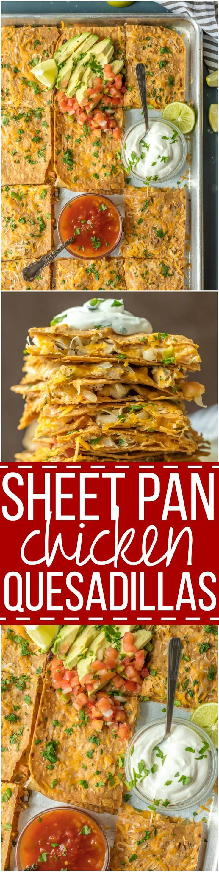 SHEET PAN CHICKEN QUESADILLAS are the easiest and best way to make delicious quesadillas for a crowd! These baked quesadillas can be made with any filling and toppings, and are sure to please even the pickiest eaters.