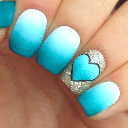 Nails #bluemani #heart #glitter #ombre