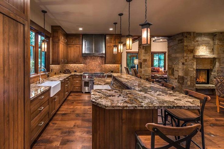 Rustic Kitchen With Ceramic Tile Flush Breakfast Bar L
