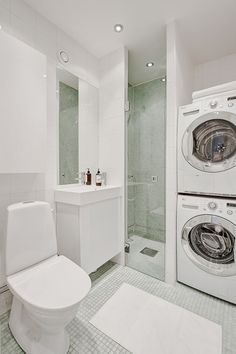 bathroom shower stackable laundry narrow - google search