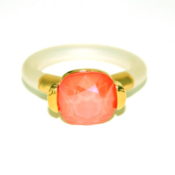 Ring laget av forgylt tinn, Flame orange Swarovski krystall og gummi